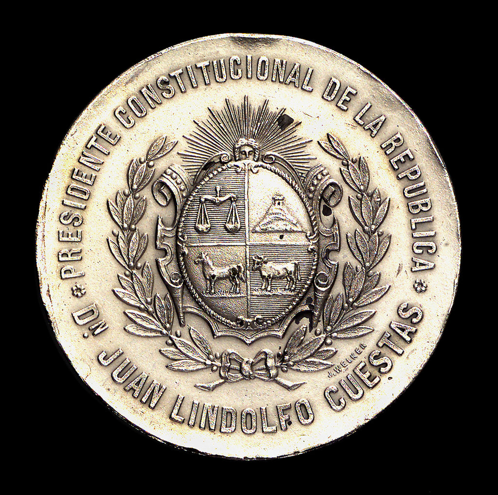 Medal commemorating the inauguration of the harbour works of Montevideo, 1901; obverse by J. Welker