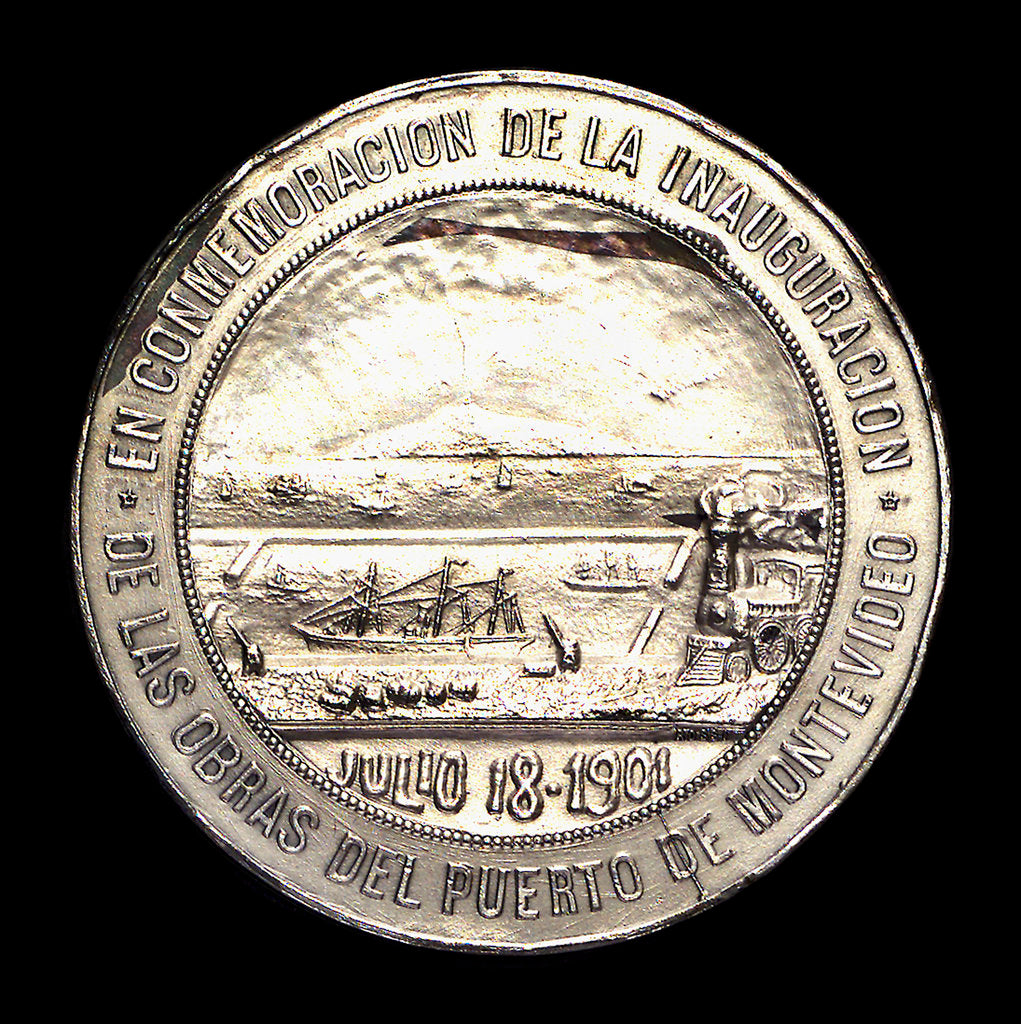 Detail of Medal commemorating the inauguration of the harbour works of Montevideo, 1901; reverse by J. Welker