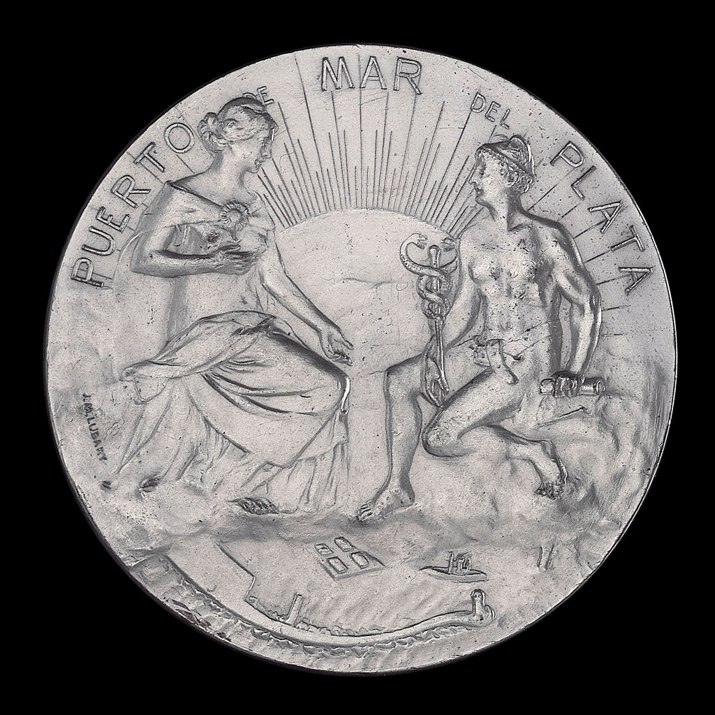 Detail of Medal commemorating the inauguration of the port of Puerto Mar Del Plata, 1910; obverse by J.M. Lubary