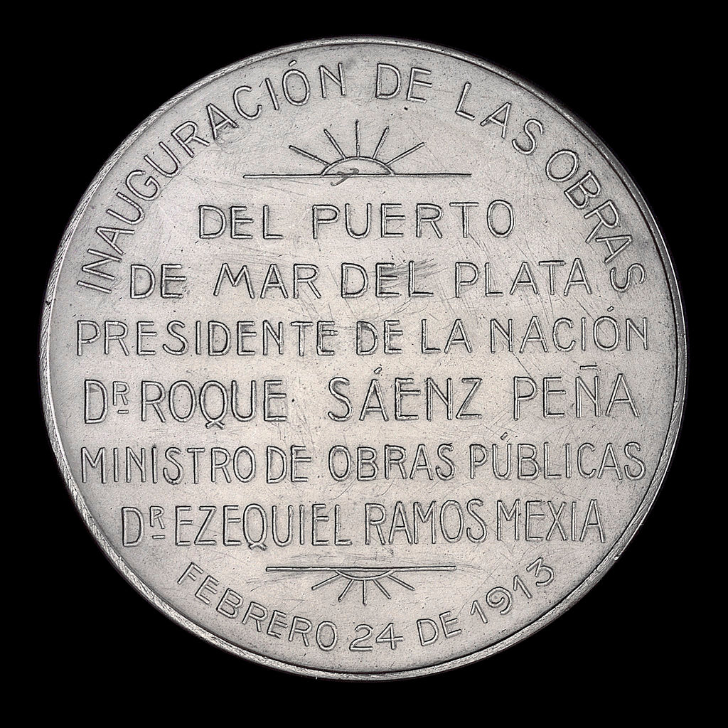 Detail of Medal commemorating the inauguration of the port of Puerto Mar Del Plata, 1910; reverse by J.M. Lubary