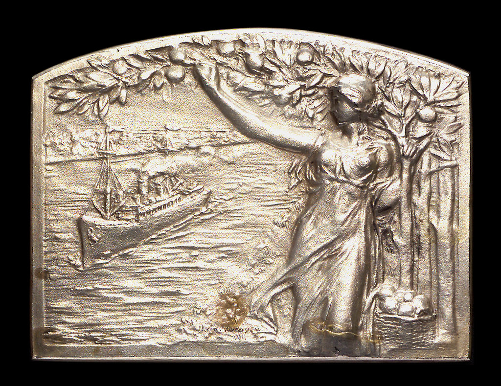 Detail of Plaque commemorating the inauguration of the canals Arias La Seina and Arana for navigation, 1913; obverse by J. J. Gottuzzo & Ca.