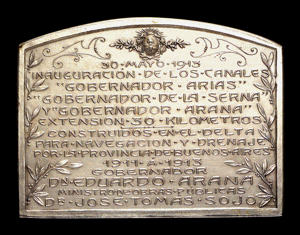 Detail of Plaque commemorating the inauguration of the canals Arias La Seina and Arana for navigation, 1913; reverse by J. J. Gottuzzo & Ca.