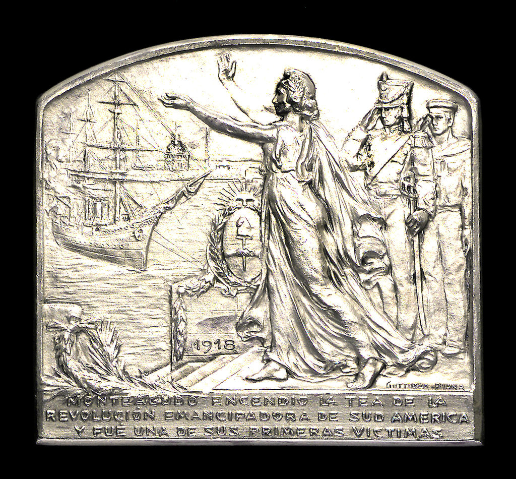 Detail of Plaque commemorating the homage of the Argentine navy to Dr B Monteagudo; obverse by Gottuzzo & Piana