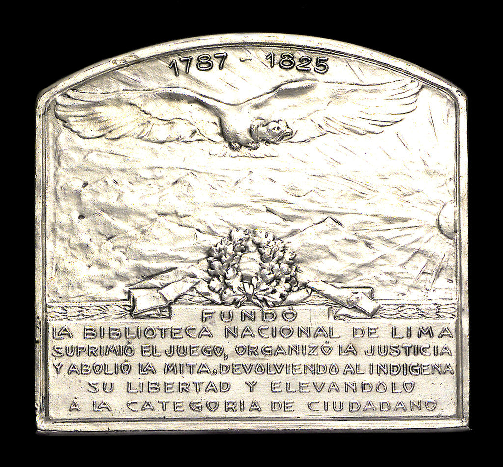 Detail of Plaque commemorating the homage of the Argentine navy to Dr B Monteagudo; reverse by Gottuzzo & Piana