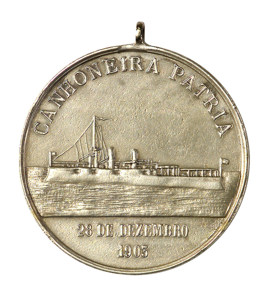 Detail of Medal commemorating the visit of the gun-boat 'Patria' to Rio de Janeiro; obverse by unknown