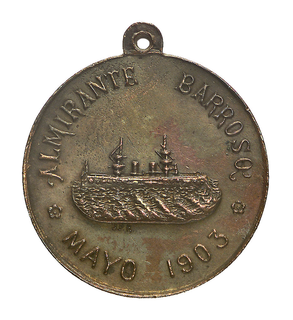 Detail of Medal commemorating the visit of the Brazilian cruiser 'Admiral Barroso' to Chile; obverse by J.P.R.