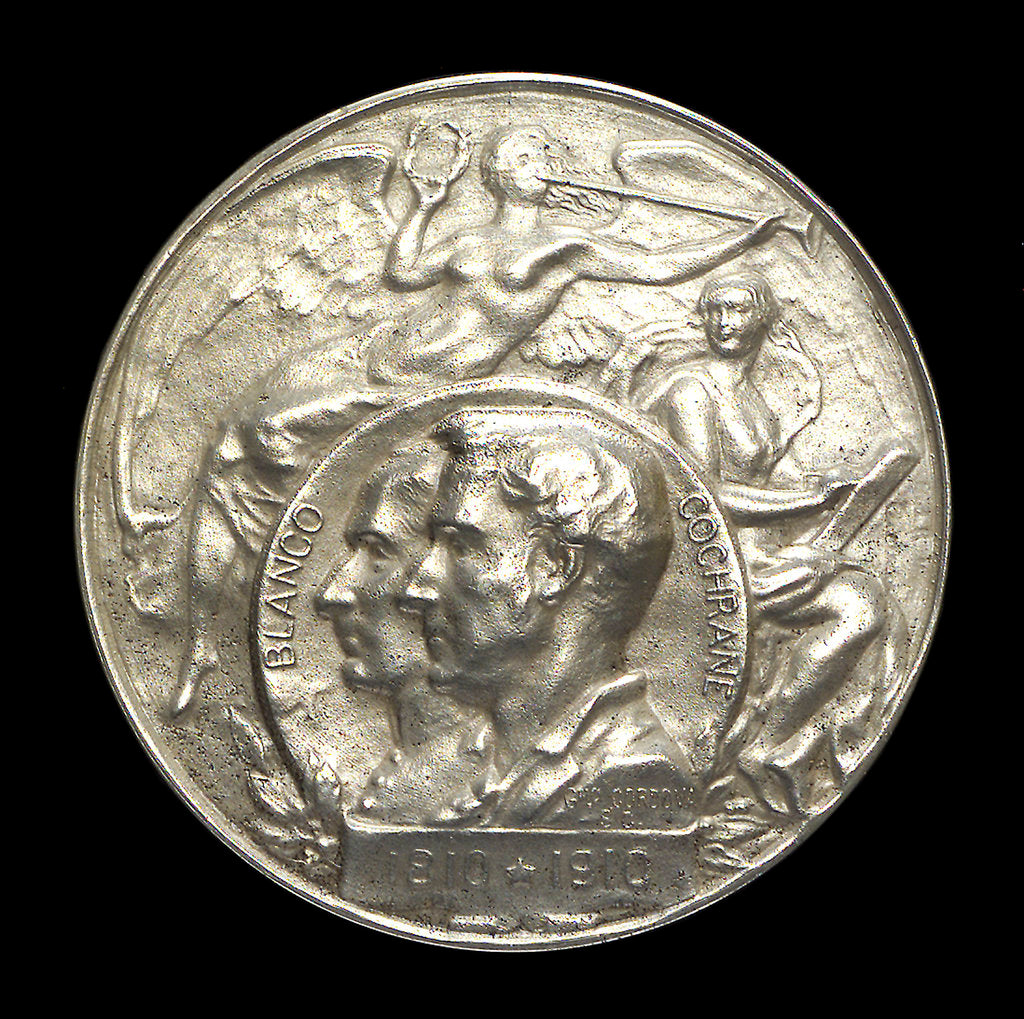 Detail of Medal commemorating the centenary of the revolt of the Chilean Fleet, Admiral Cochrane and Admiral Blanco, 1910; obverse by G. Cordova