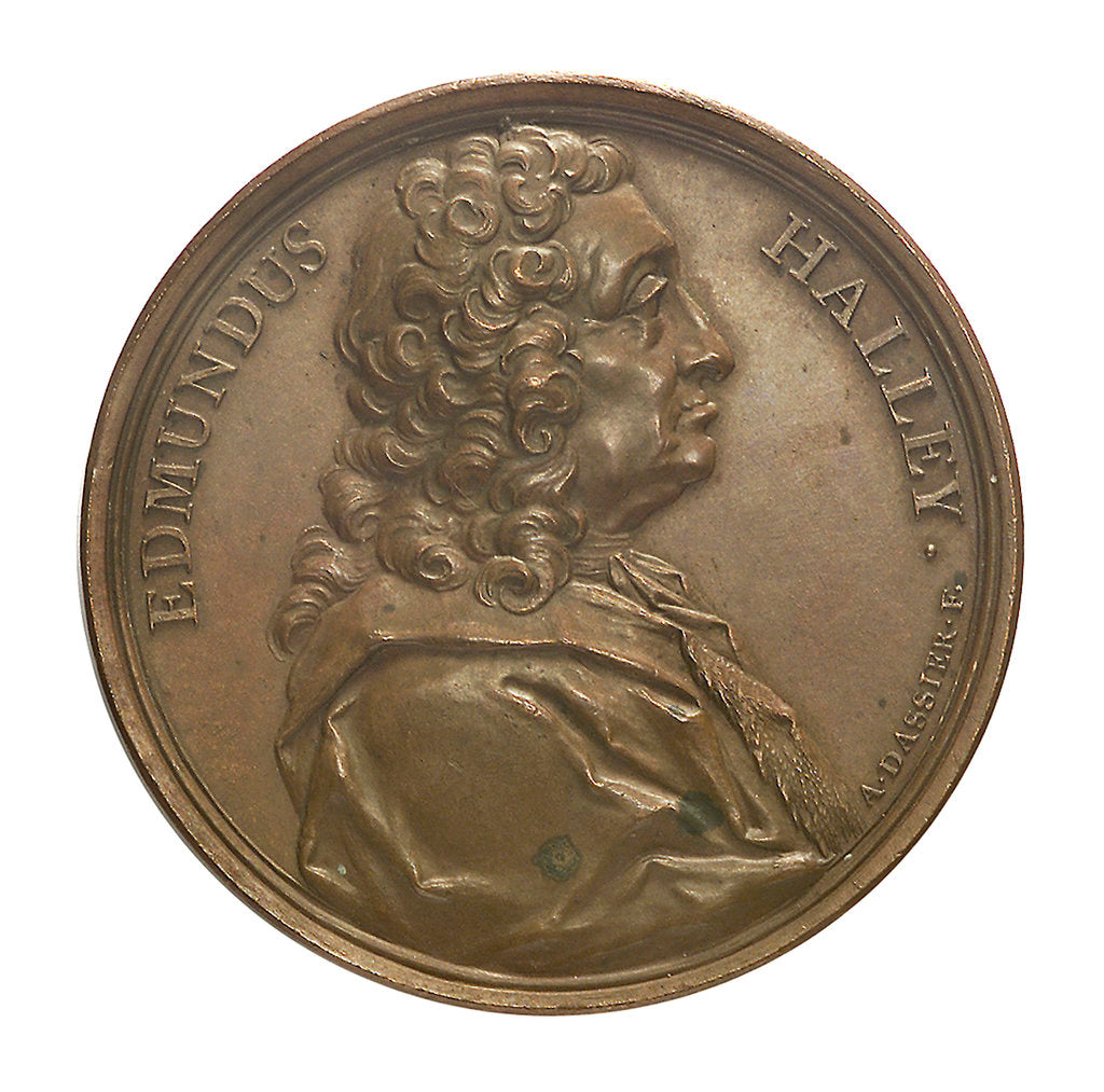 Detail of Commemorative medal depicting Edmund Halley (1656-1742); obverse by J.A. Dassier