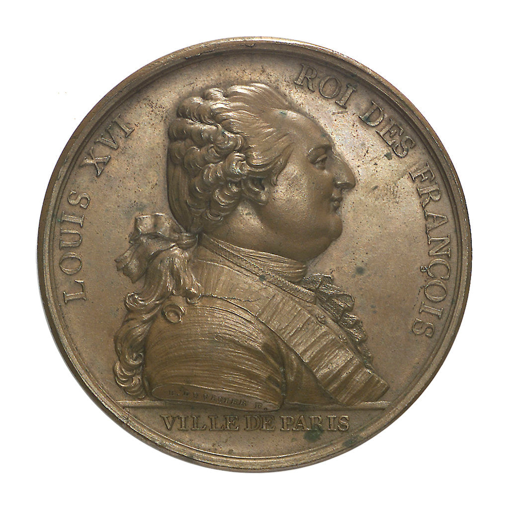 Detail of Medal commemorating Louis XVI and the City of Paris; obverse by P.S.B. Duvivier