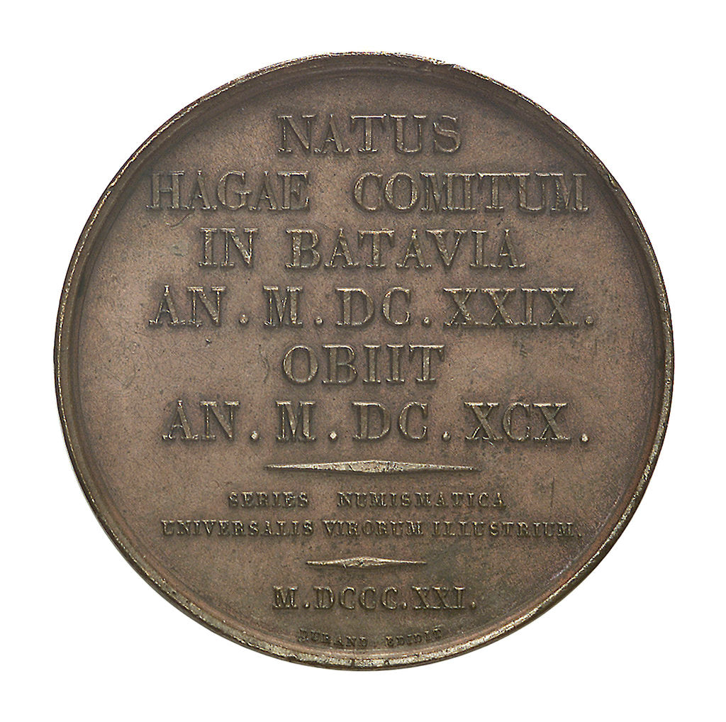 Detail of Commemorative medal depicting Christian Huygens (1629-95); reverse by Henrionnet