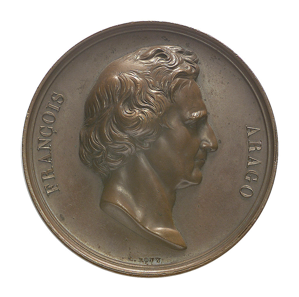 Detail of Commemorative medal depicting Dominique Francois Jean Arago (1786-1855); obverse by A.F.A. Bovy