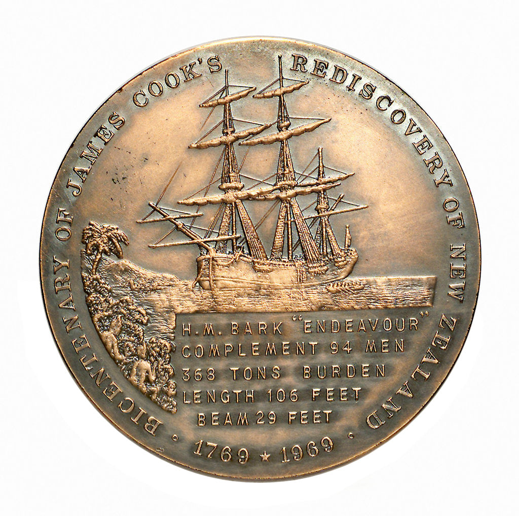 Detail of Medal commemorating the bicentenary of James Cook's rediscovery of New Zealand, 1969; reverse by Royal Australian Mint