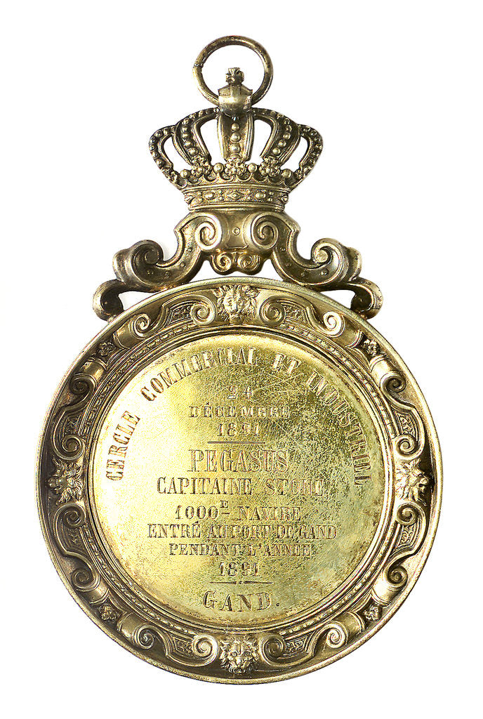 Detail of Pendant medallion presented to Captain Stone, 1891 of the 'Pegasus'; obverse by unknown
