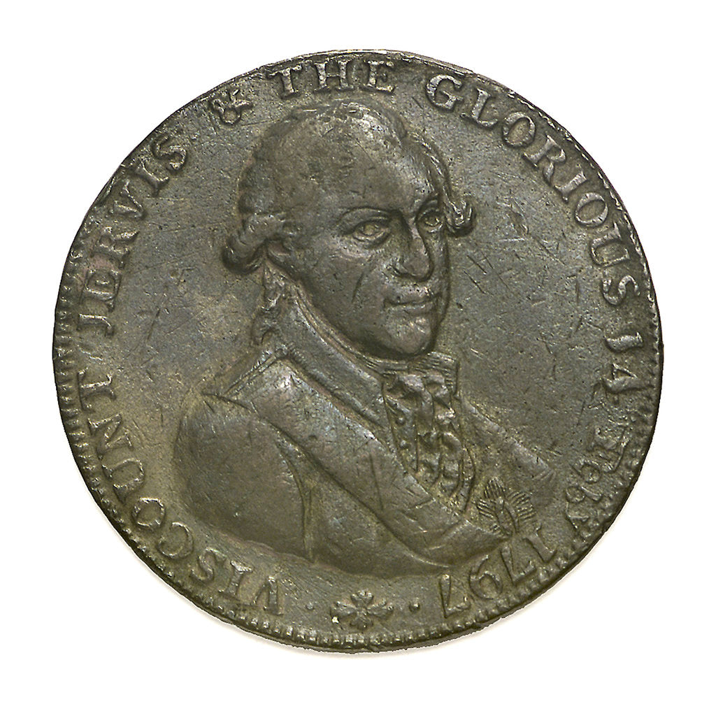 Detail of A Portsmouth halfpenny token commemorating John Jervis, Earl St Vincent (1735-1823) and the Battle of Cape St Vincent, 1797; obverse by unknown