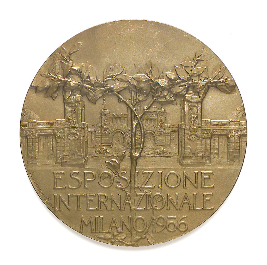 Detail of Medal commemorating the Milan International Exhibition, 1906; reverse by S. Johnson