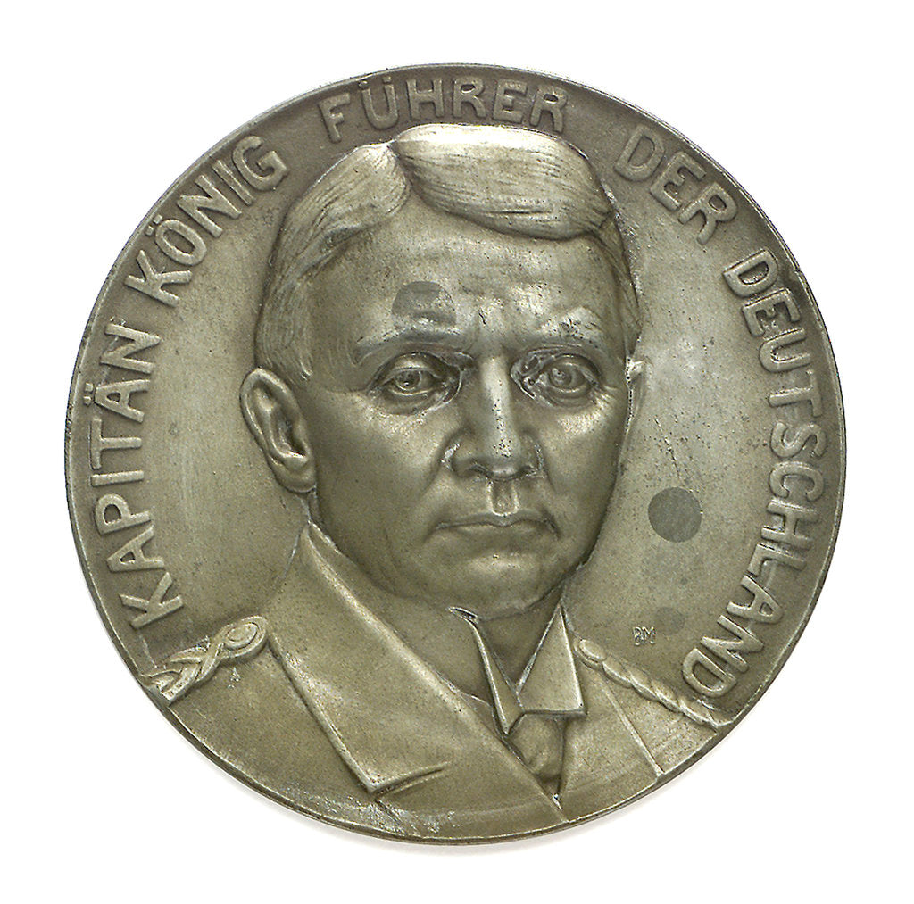 Detail of Medal commemorating Captain Paul König and the submarine'Deutschland', 1916 by unknown