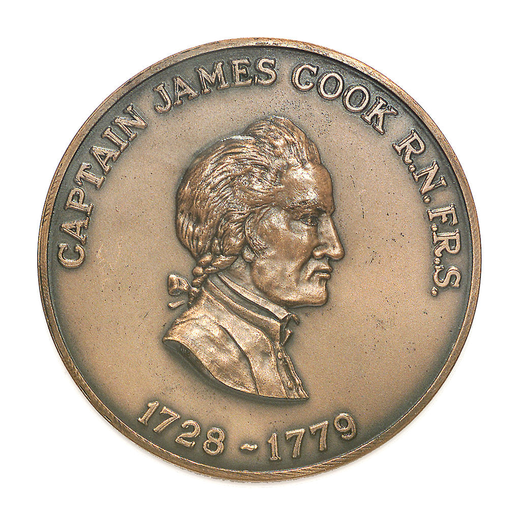 Detail of Medal commemorating Captain James Cook (1728-1779); obverse by Historic Medals