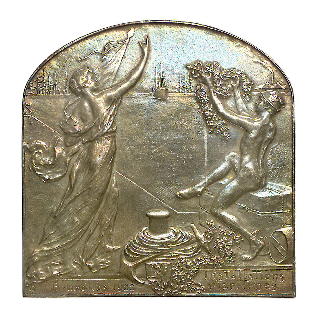 Detail of Medal commemorating the Maritime Installations, Brussels; obverse by G. Devreesa