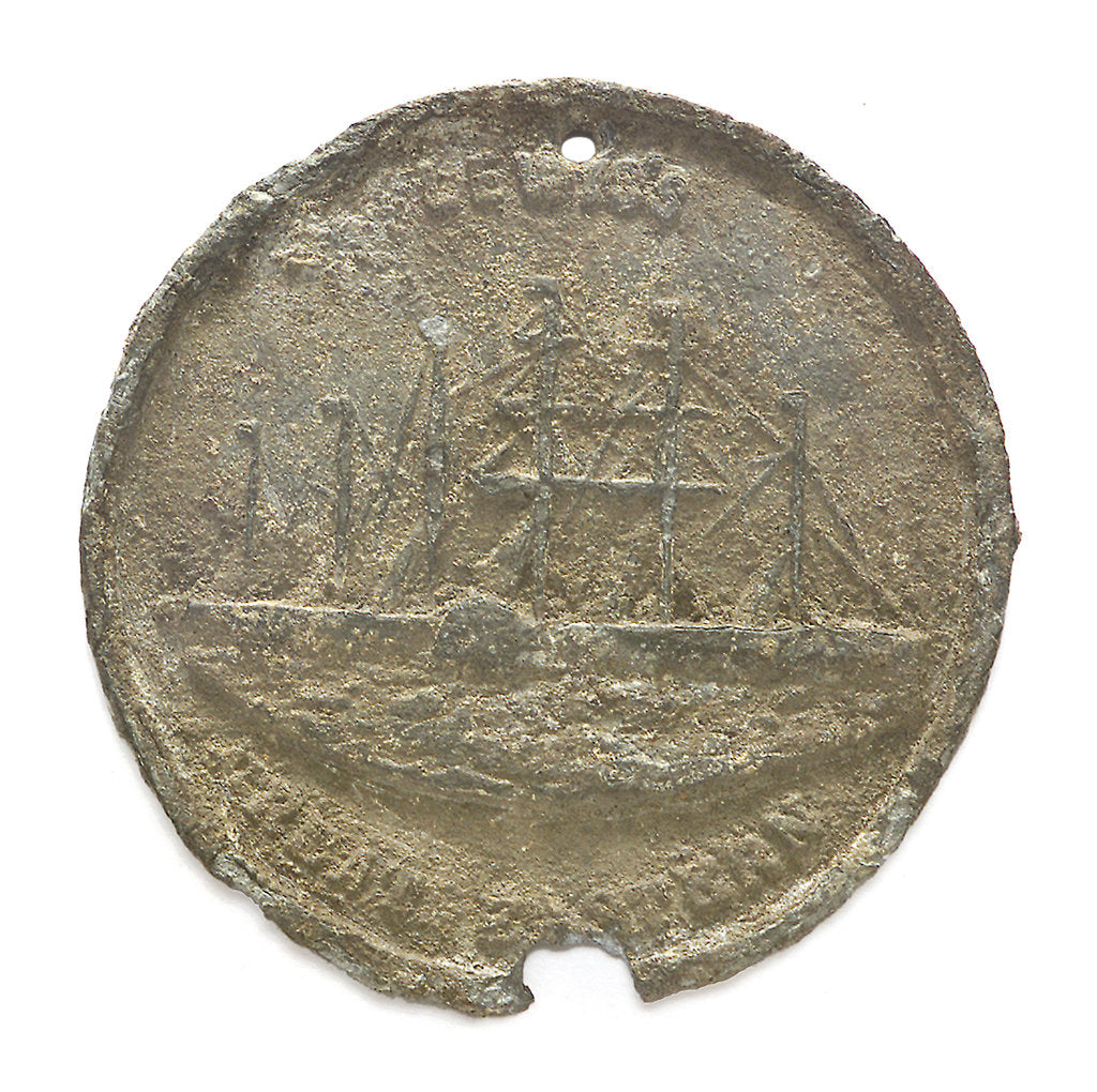 Detail of Medal commemorating Lewis's Great Eastern exhibition, Liverpool; obverse by unknown