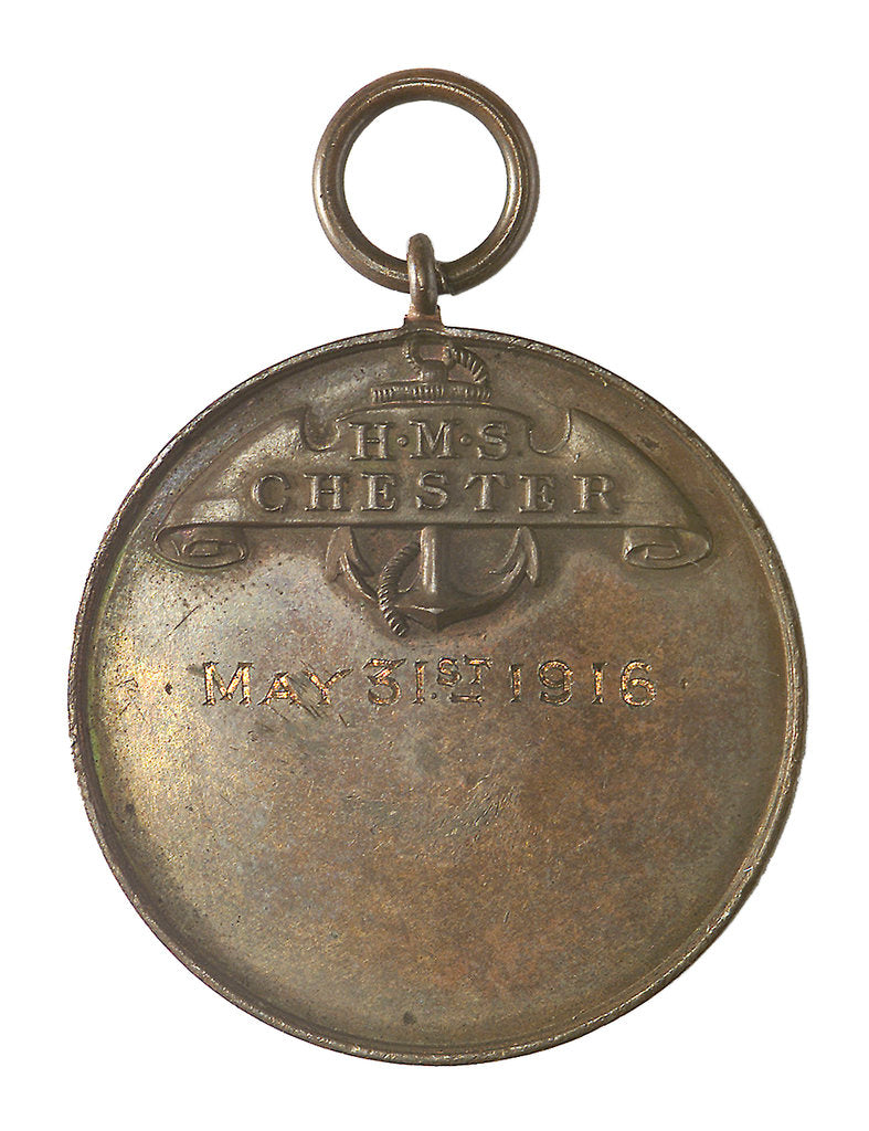 Detail of Medal commemorating HMS 'Chester' and the battle of Jutland, 1916; reverse by unknown