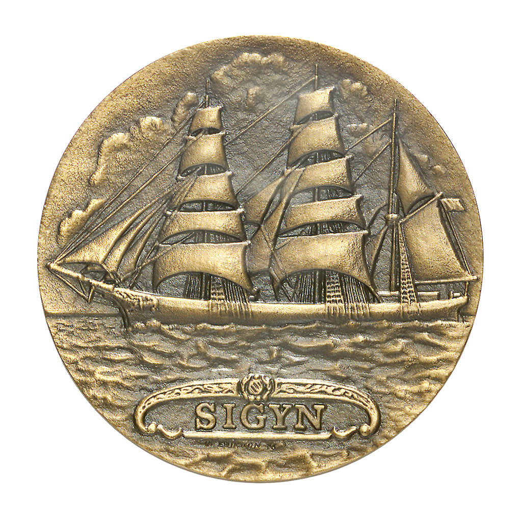 Detail of Commemorative medal depicting the three masted barque Sigyn - Abo Maritime Museum, Finland; obverse by O. Eriksson