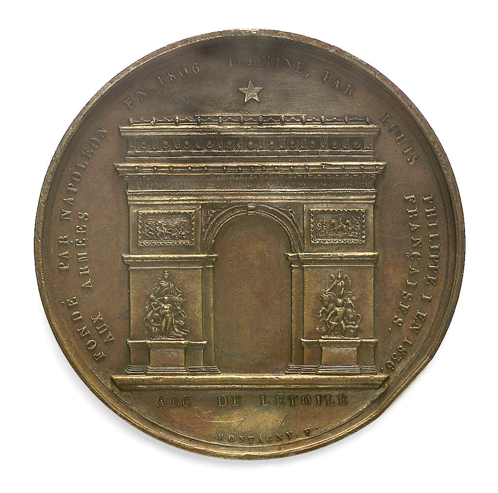 Detail of Medal commemorating Napoleon I and the building of the Arc de Triomphe; reverse by Montagny