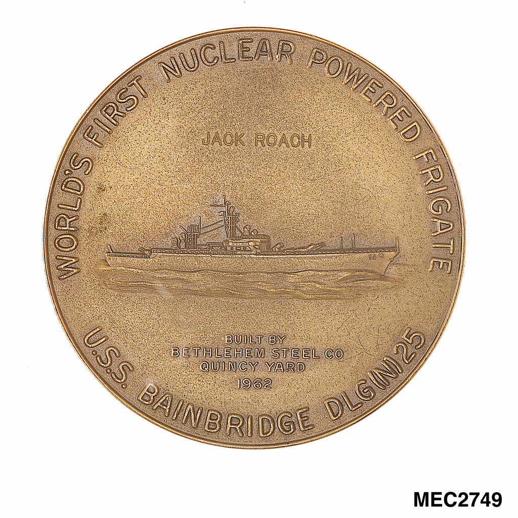 Detail of Medal commemorating the USS 'Bainbridge'- world's first nuclear powered frigate by unknown