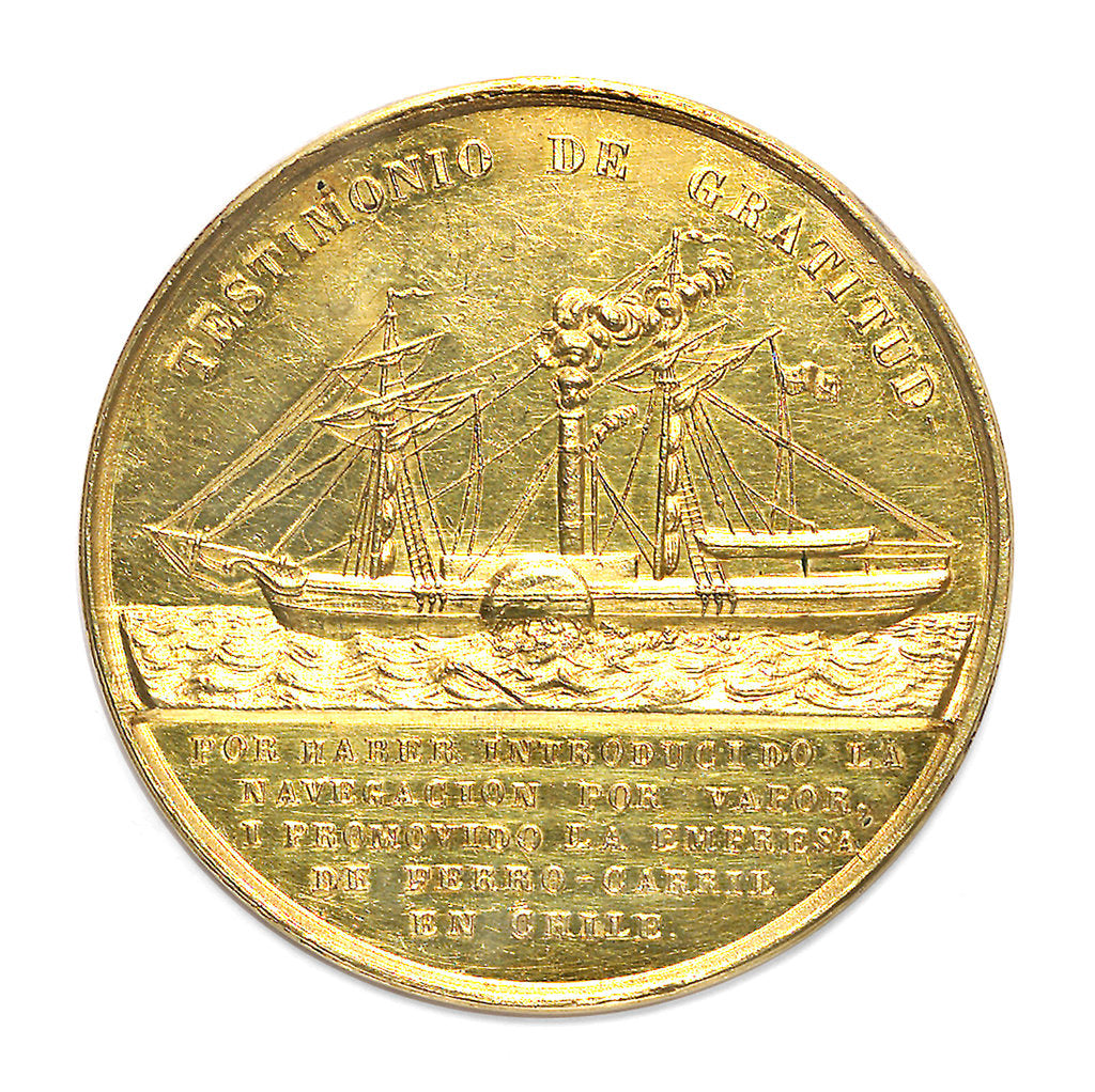 Detail of Medal commemorating the introduction of the first steamships in the Pacific; reverse by unknown