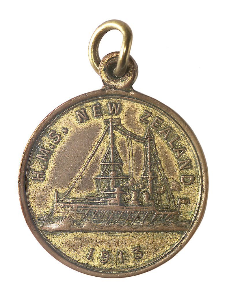 Detail of Medal commemorating the visit of New Zealand's gift battleship, HMS 'New Zealand'; obverse by unknown