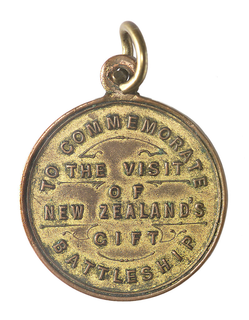 Detail of Medal commemorating the visit of New Zealand's gift battleship, HMS 'New Zealand'; reverse by unknown