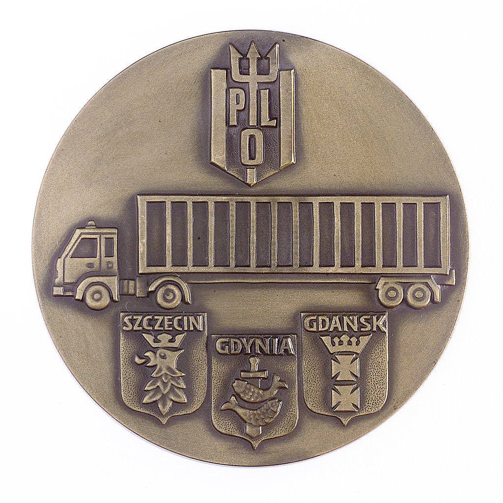 Detail of Medal commemorating the Polish Ocean Lines Container Services; reverse by unknown