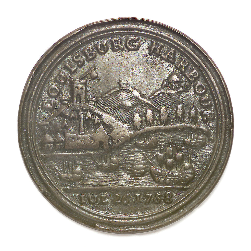 Detail of Medal commemorating Admiral Edward Boscawen (1711-1761) and the capture of Louisbourg, 1758; reverse by unknown
