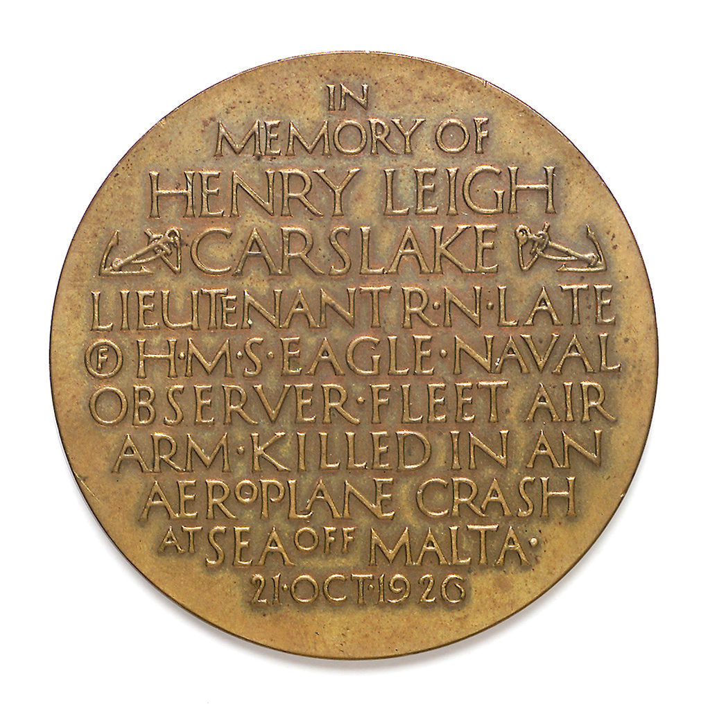 Detail of Medal commemorating the death of Lieutenant Henry Leigh Carslake, 1926; reverse by P. Metcalfe