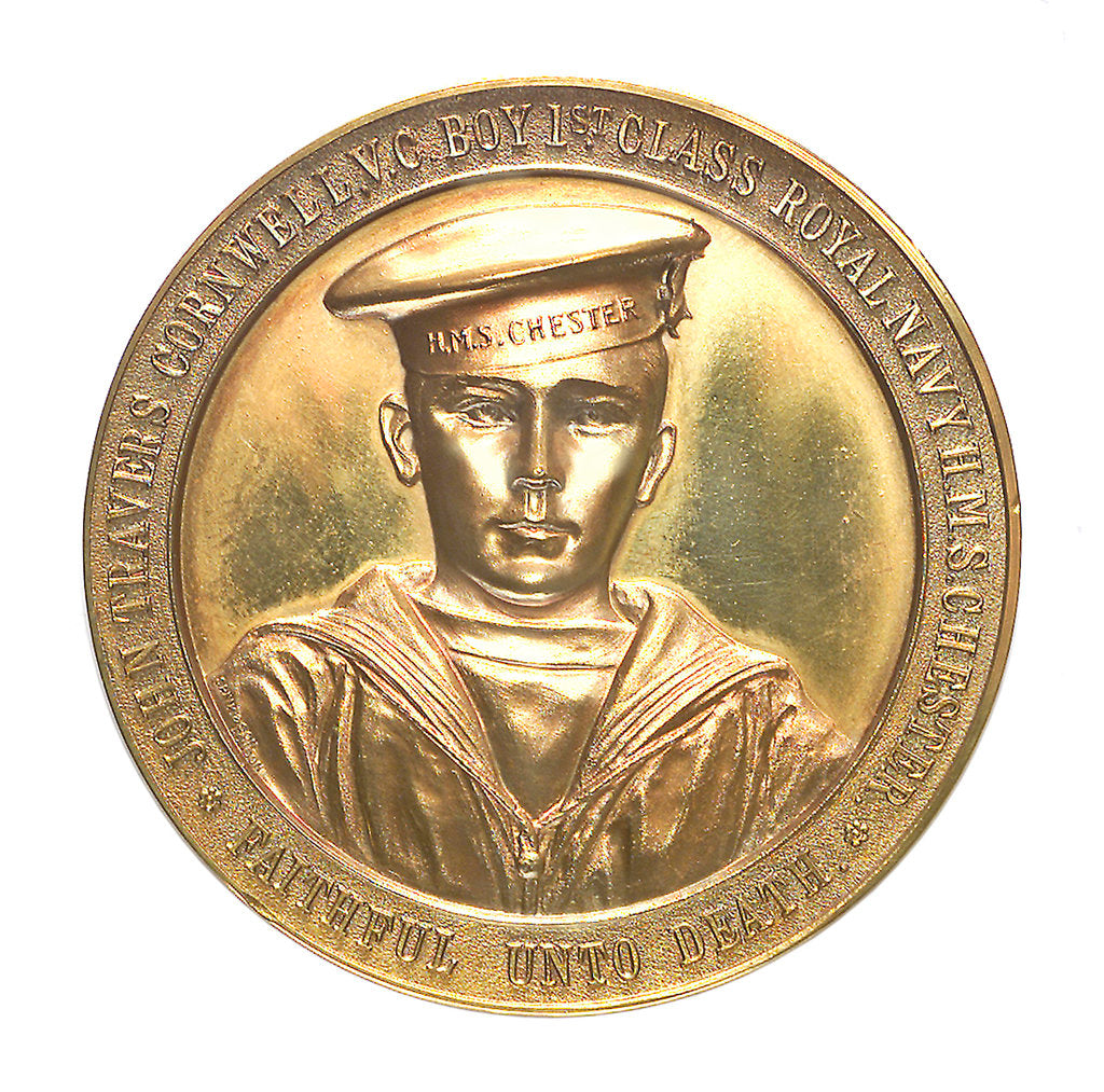 Detail of Medal commemorating John Travers Cornwell VC (1900-1916) and the Battle of Jutland, 1916; obverse by Spink & Son Ltd.