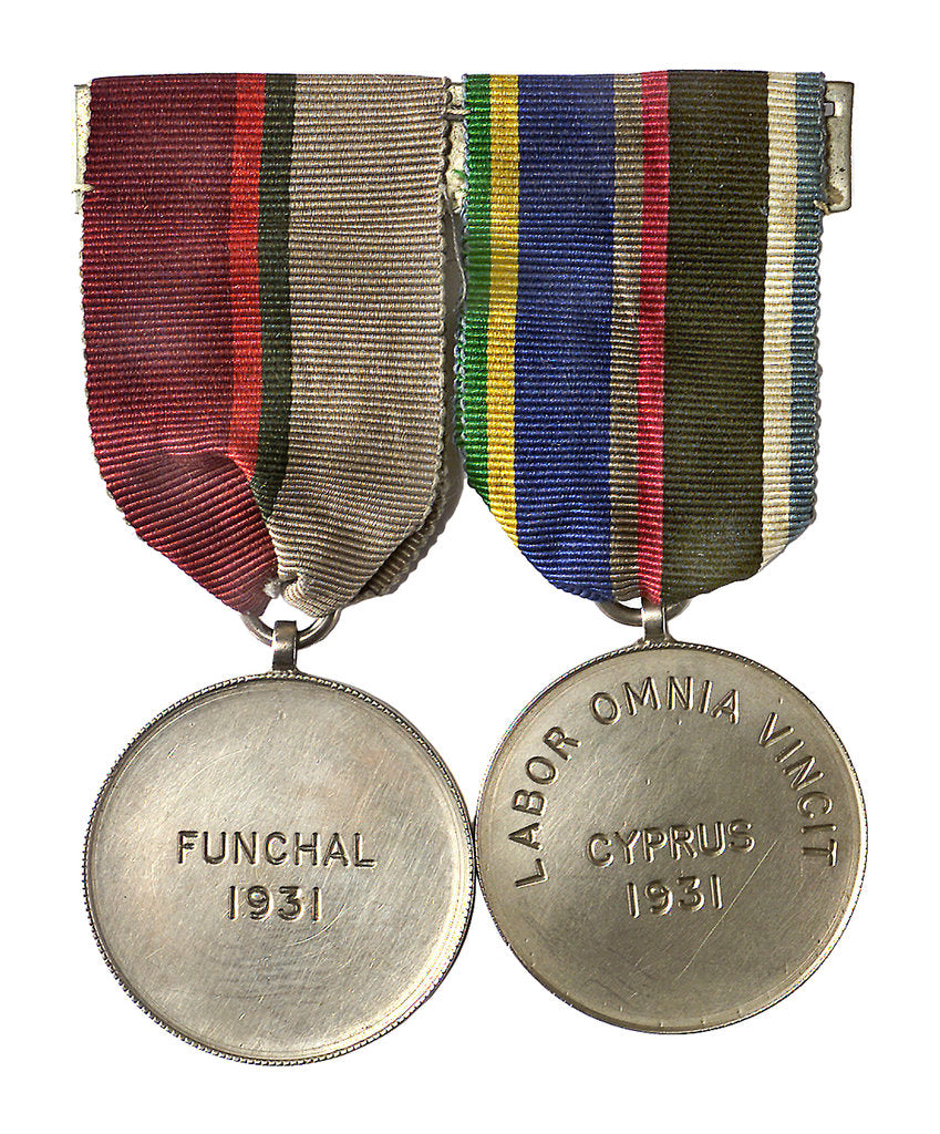 Detail of Two medals: medal commemorating HMS 'London', Funchal 1931and medal commemorating HMS 'London', Cyprus 1931; obverse by unknown