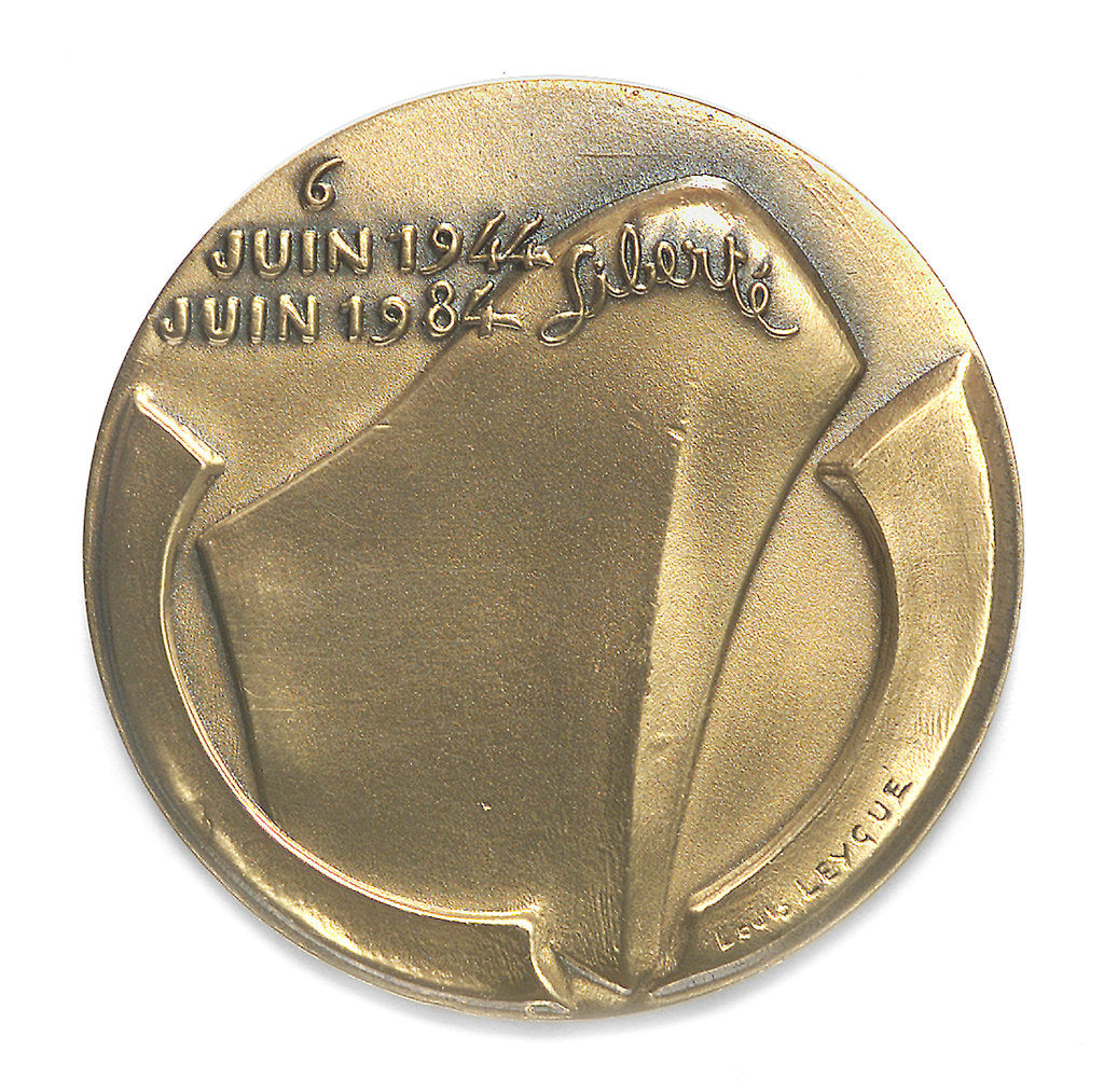 Detail of Medal commemorating the 40th anniversary of the Normandy Landings, 1984; reverse by Louis Leygue