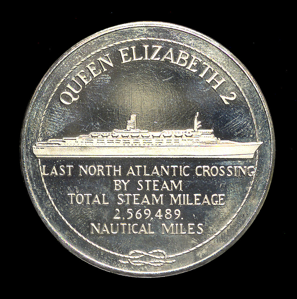 Detail of Medal commemorating the 'Queen Elizabeth 2' - Last North Atlantic Crossing by Steam; obverse by unknown
