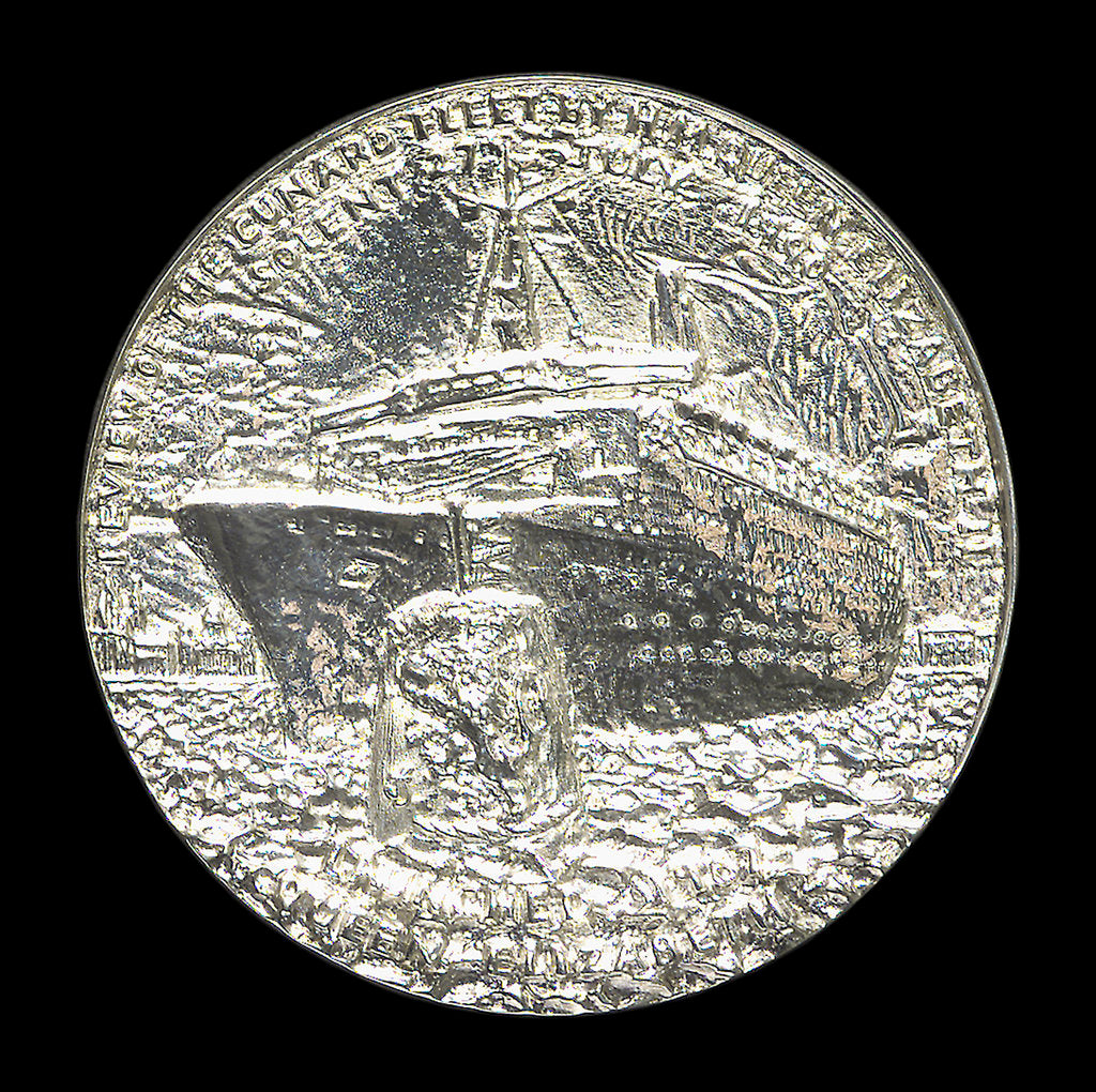 Detail of Medal commemorating the 150th anniversary of Cunard Shipping Company; obverse by Jacqueline Steiger
