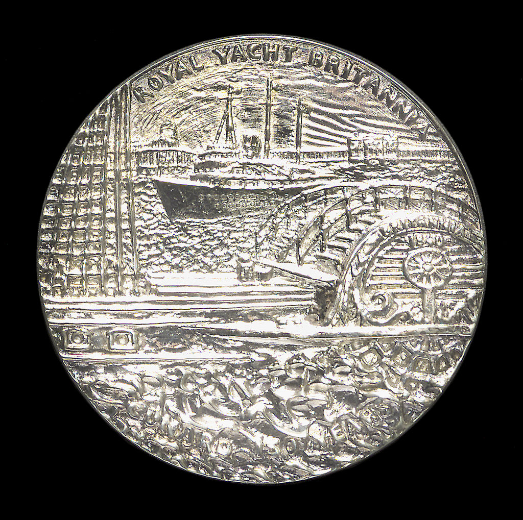 Detail of Medal commemorating the 150th anniversary of Cunard Shipping Company; reverse by Jacqueline Steiger