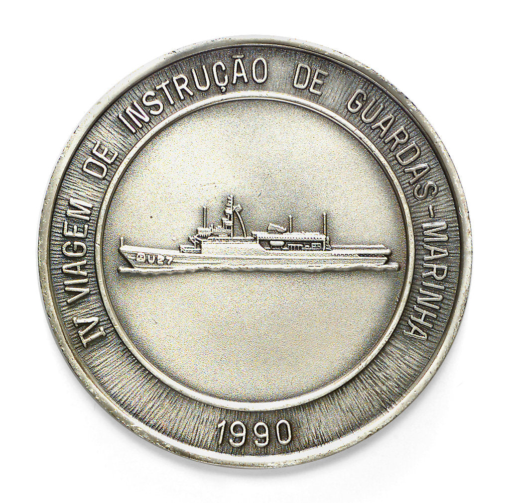 Detail of Medal commemorating the Brazilian Navy Training Ship 'Brasil', 4th voyage, 1990; reverse by unknown