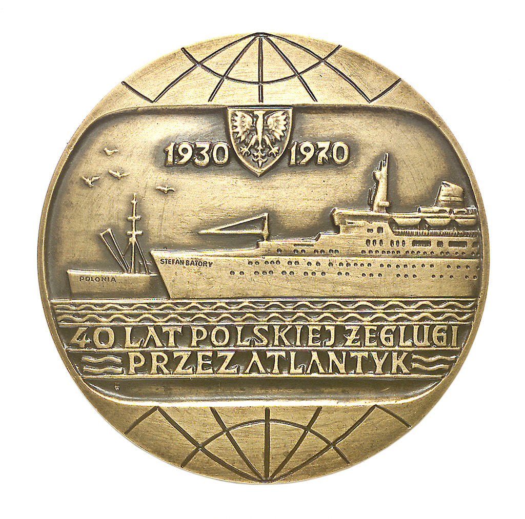 Detail of Medal commemorating Polish Ocean Lines 40 Years of Polish Shipping Across The Atlantic 1930 - 1970; obverse by unknown