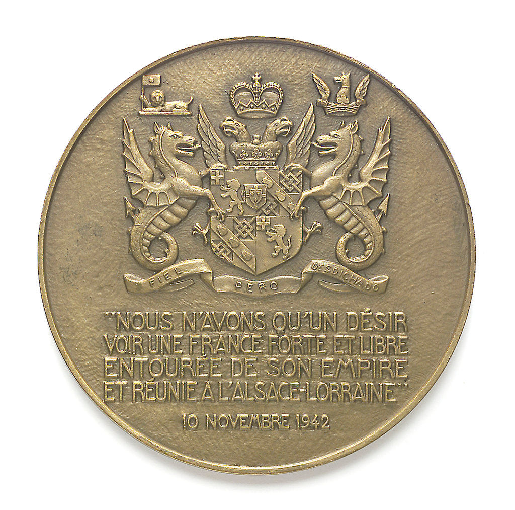Detail of Medal commemorating Sir Winston Churchill (1874-1965) and the Liberation of France, 1945; reverse by Pierre Turin