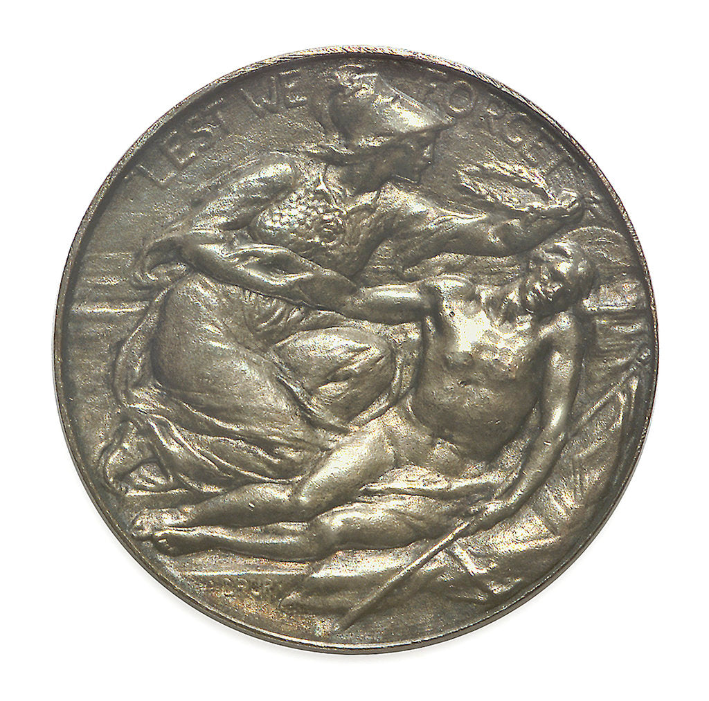 Detail of Commemorative medal bearing the words 'Lest We Forget'; obverse by A. Drury
