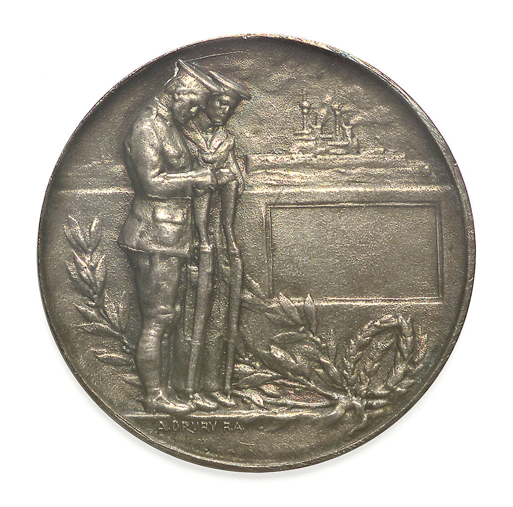 Detail of Commemorative medal bearing the words 'Lest We Forget'; reverse by A. Drury