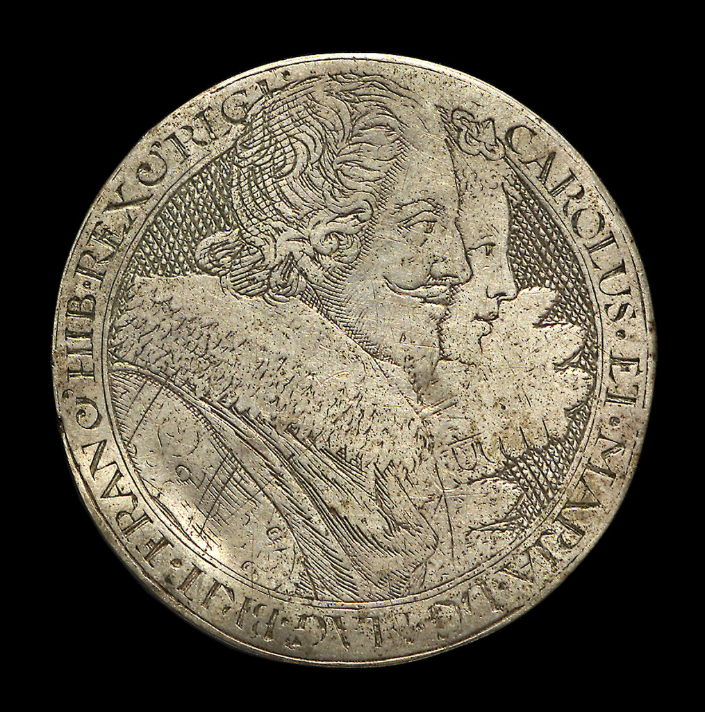 Detail of Counter commemorating King Charles I and Henrietta Maria; obverse by unknown