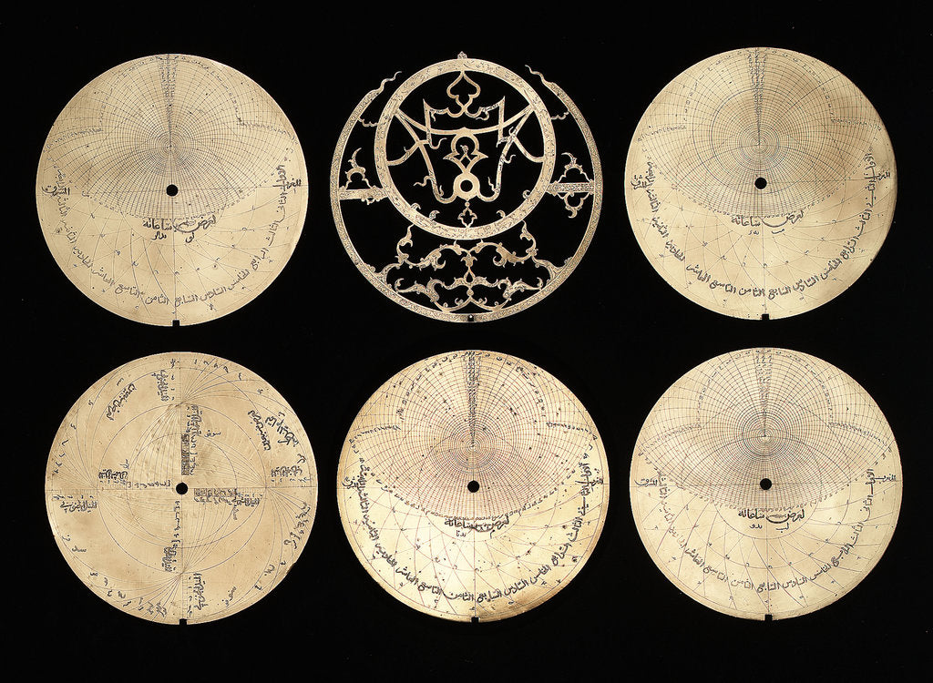 Detail of Astrolabe: obverse of plates by Muhammad Muqim al-Yazdi