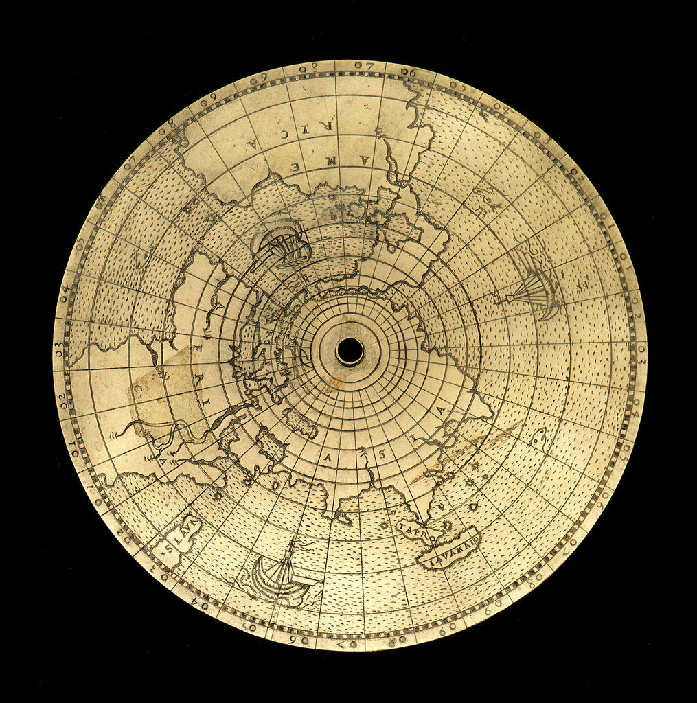 Detail of Astrolabe: geographical plate by Jean Naze