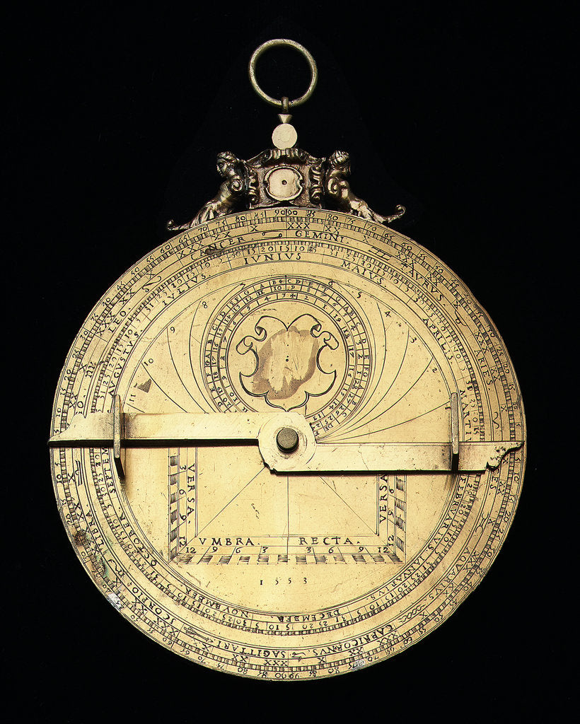 Detail of Astrolabe: mounted reverse by Jean Naze