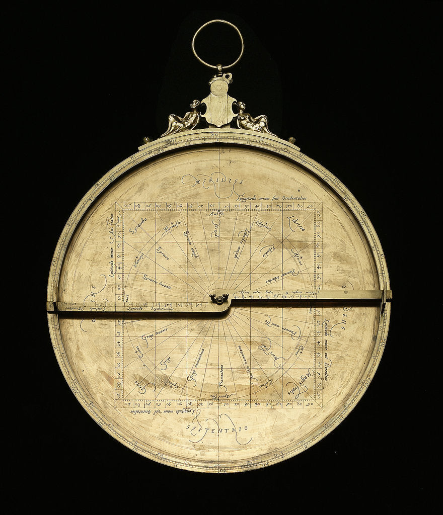 Detail of Astrolabe: mounted obverse without rete by Adrian Descroli