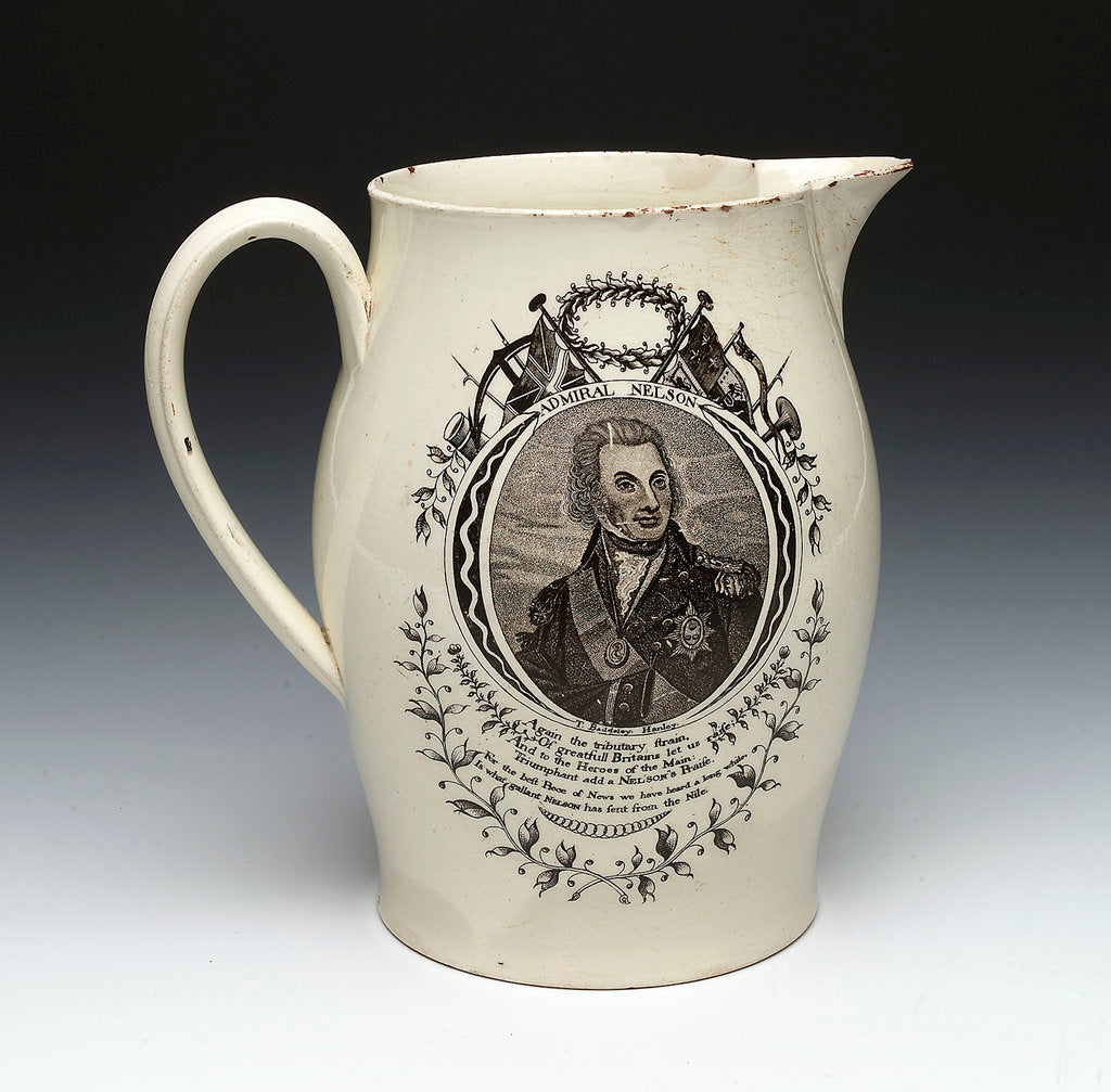 Detail of Jug with a portrait of Vice-Admiral Horatio Nelson (1758-1805) by Thomas Baddeley